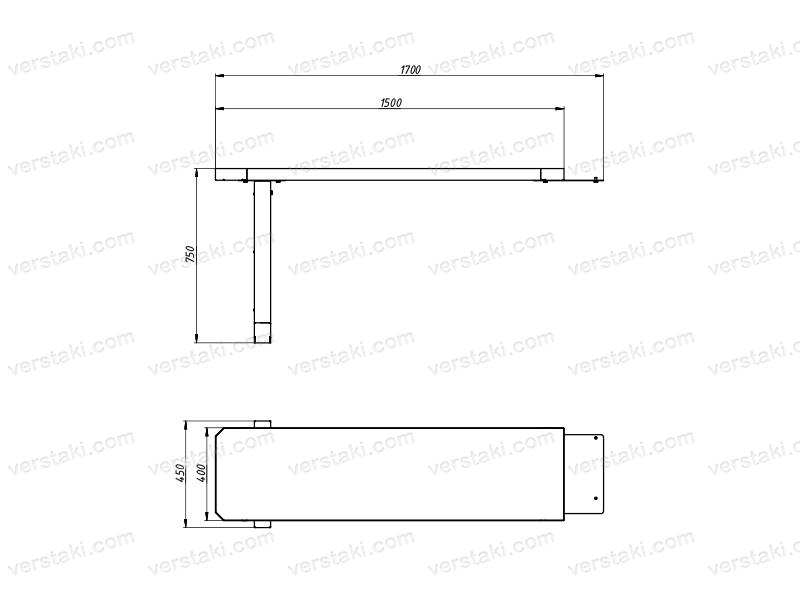Чертеж каркаса углового стола KV-PRO-WP-2-0