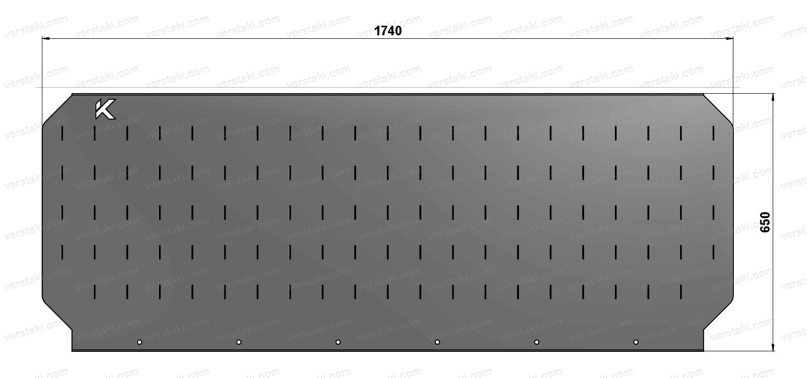Чертеж экрана для слесарного верстака шириной 1740 мм