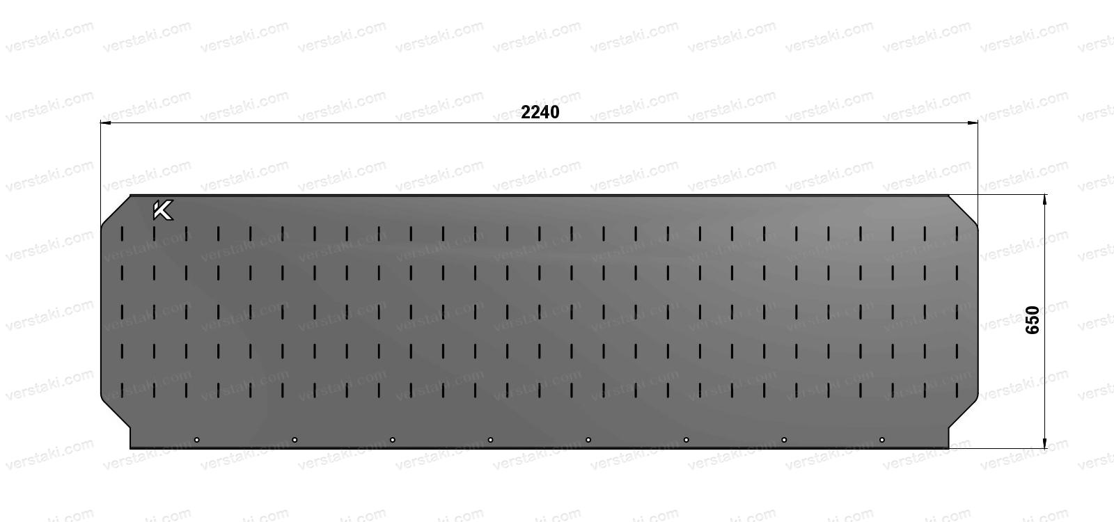 Чертеж экрана для слесарного верстака шириной 2240 мм