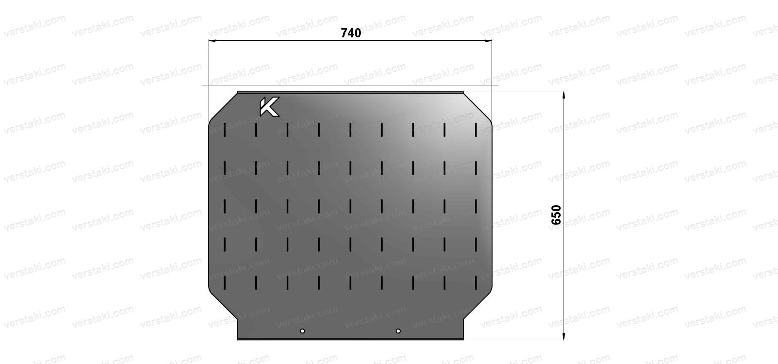 Чертеж экрана для слесарного верстака шириной 740 мм
