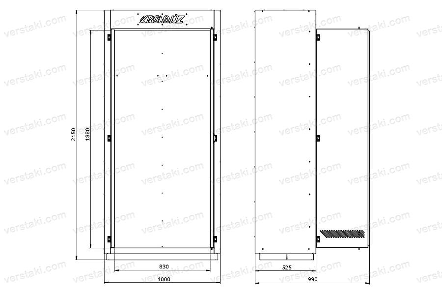Чертеж каркаса инструментального шкафа KronVuz Box 1000