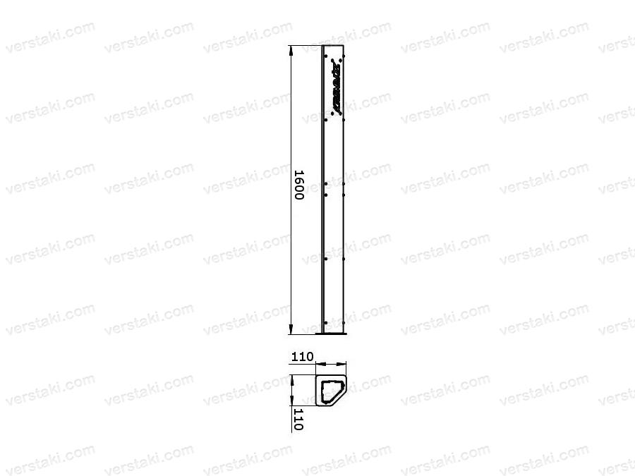 Чертеж стойки стеллажа KronVuz F1600