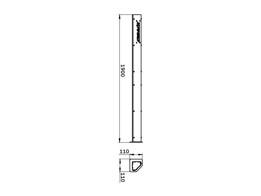 Чертеж стойки стеллажа KronVuz F1900