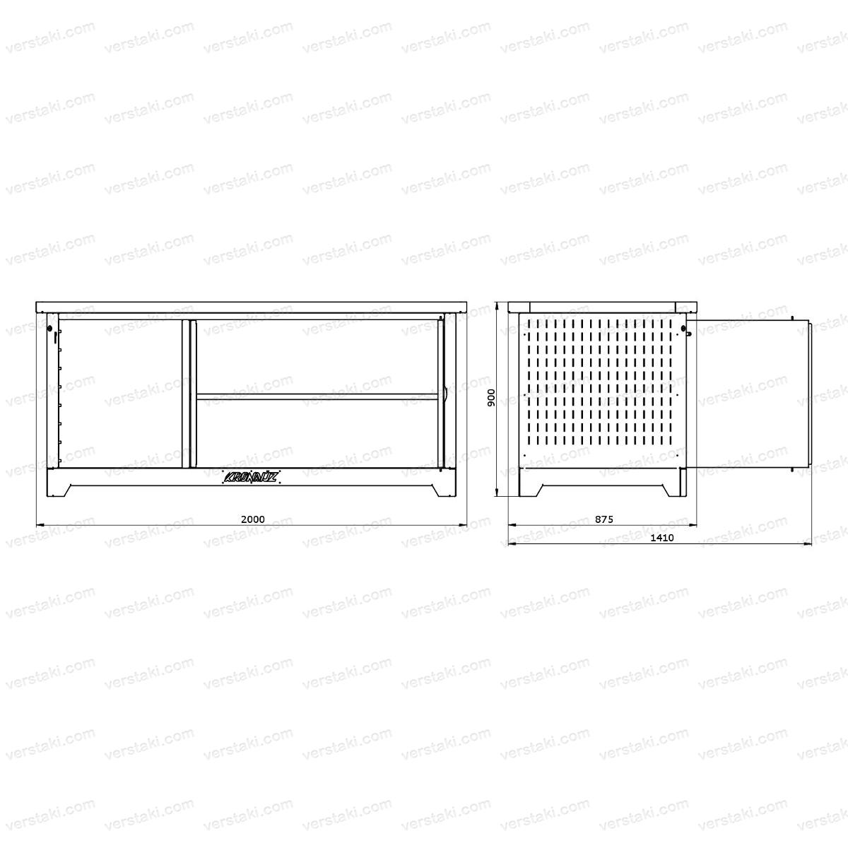Каркас слесарного верстака серии KronVuz с навесными дверцами