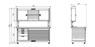Каркас слесарного верстака серии KronVuz с навесным шкафом