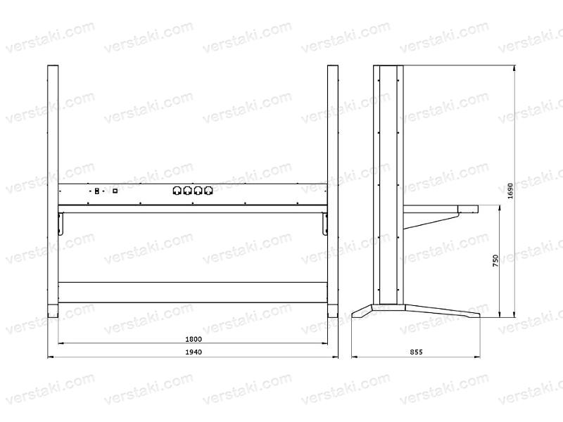 Чертеж каркаса рабочего места KronVuz Pro WP-2303-S