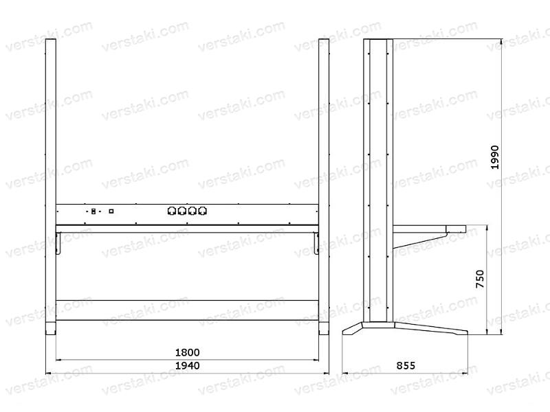 Чертеж каркаса рабочего места KronVuz Pro WP-5100-SV