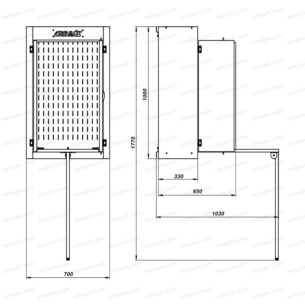 Чертеж инструментального навесного шкафа серии KronVuz