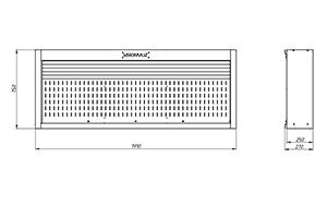 Чертеж инструментального навесного шкафа с роллетой KronVuz