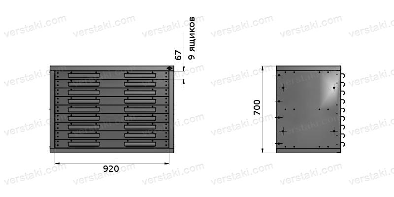 Тумба большая с девятью ящиками ТВС-5
