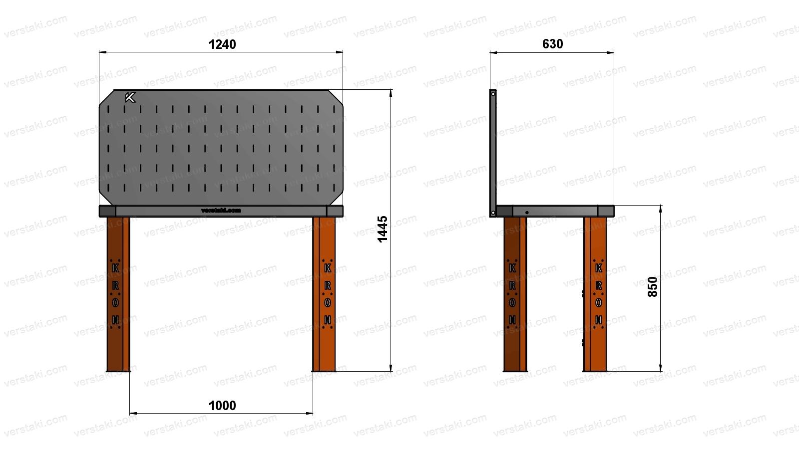Чертеж слесарного верстака шириной 1240 мм вместе с экраном