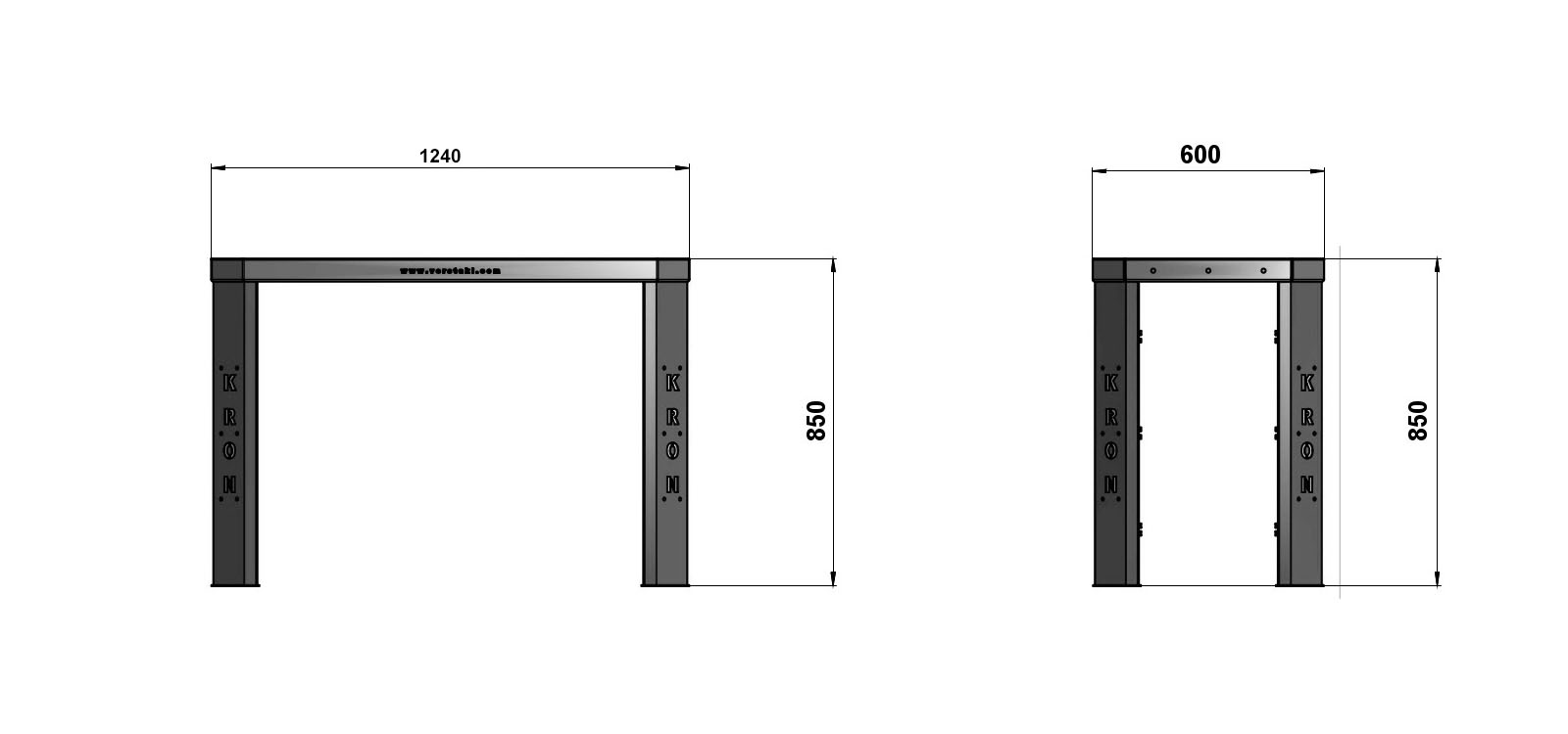 Чертеж слесарного верстака шириной 1240 мм без экрана