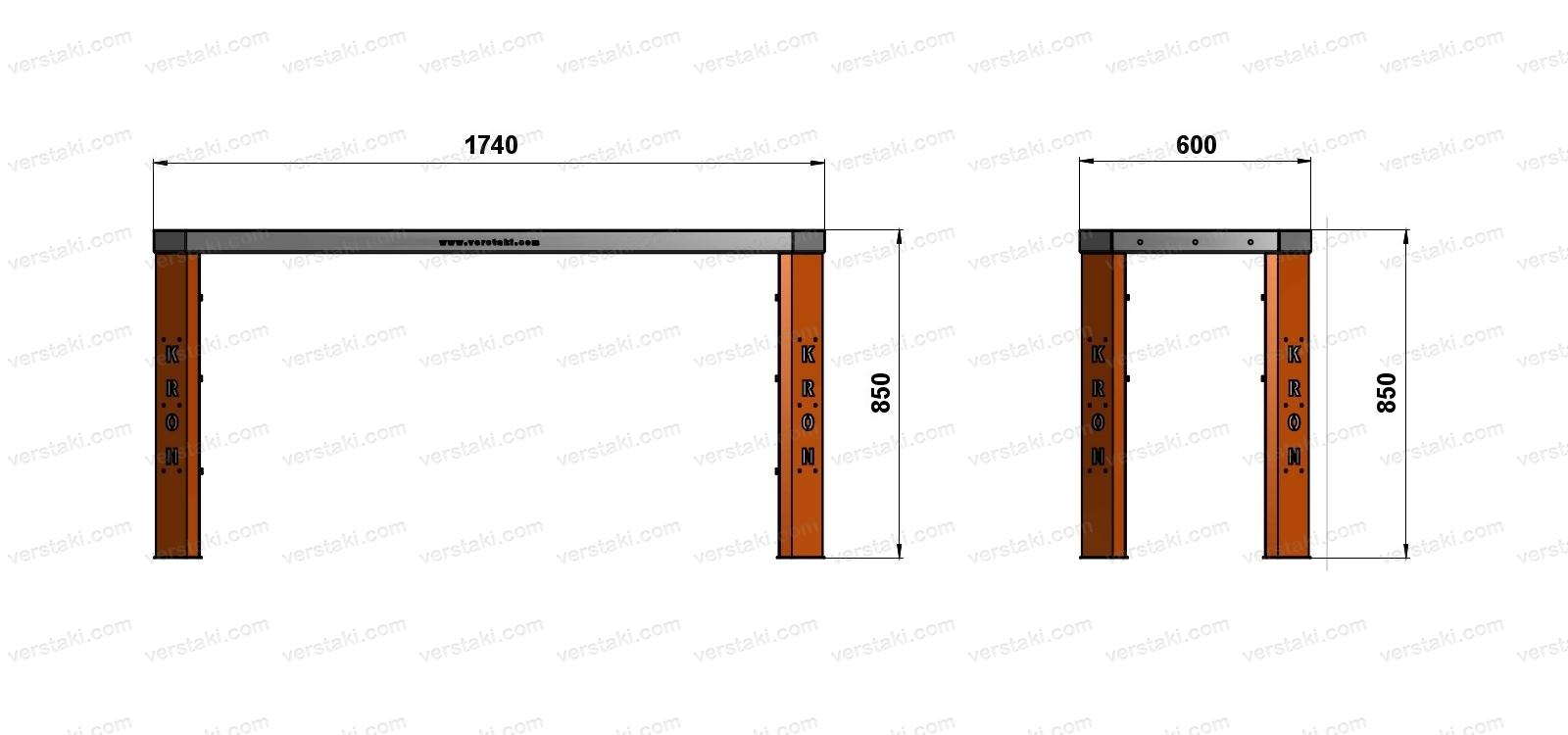 Чертеж слесарного верстака шириной 1740 мм без экрана