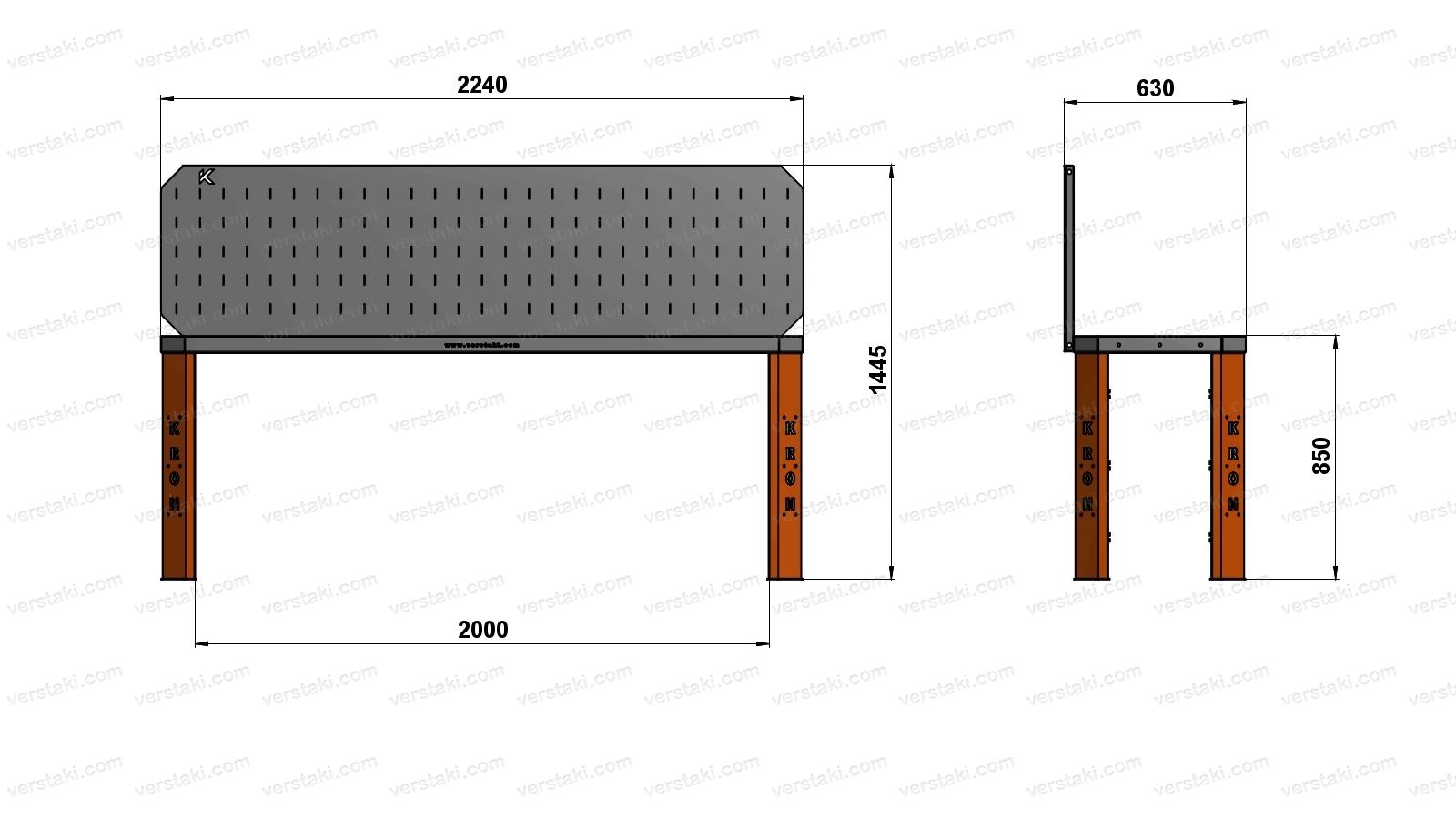Чертеж слесарного верстака шириной 2240 мм вместе с экраном