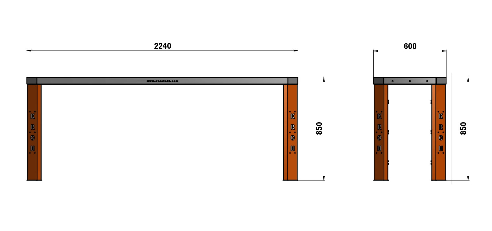 Чертеж слесарного верстака шириной 2240 мм без экрана