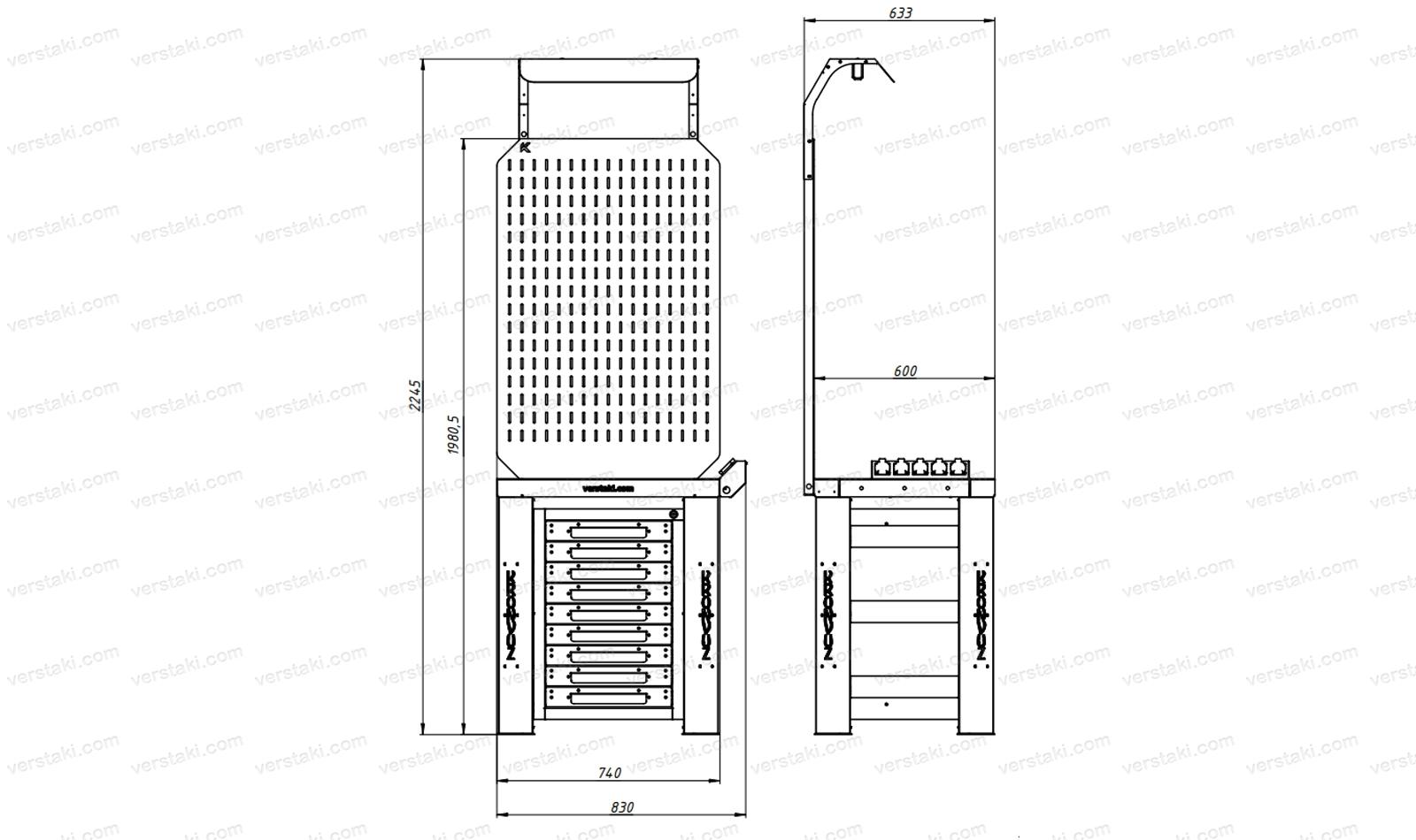 Чертеж слесарного верстака шириной 740 мм вместе с экраном