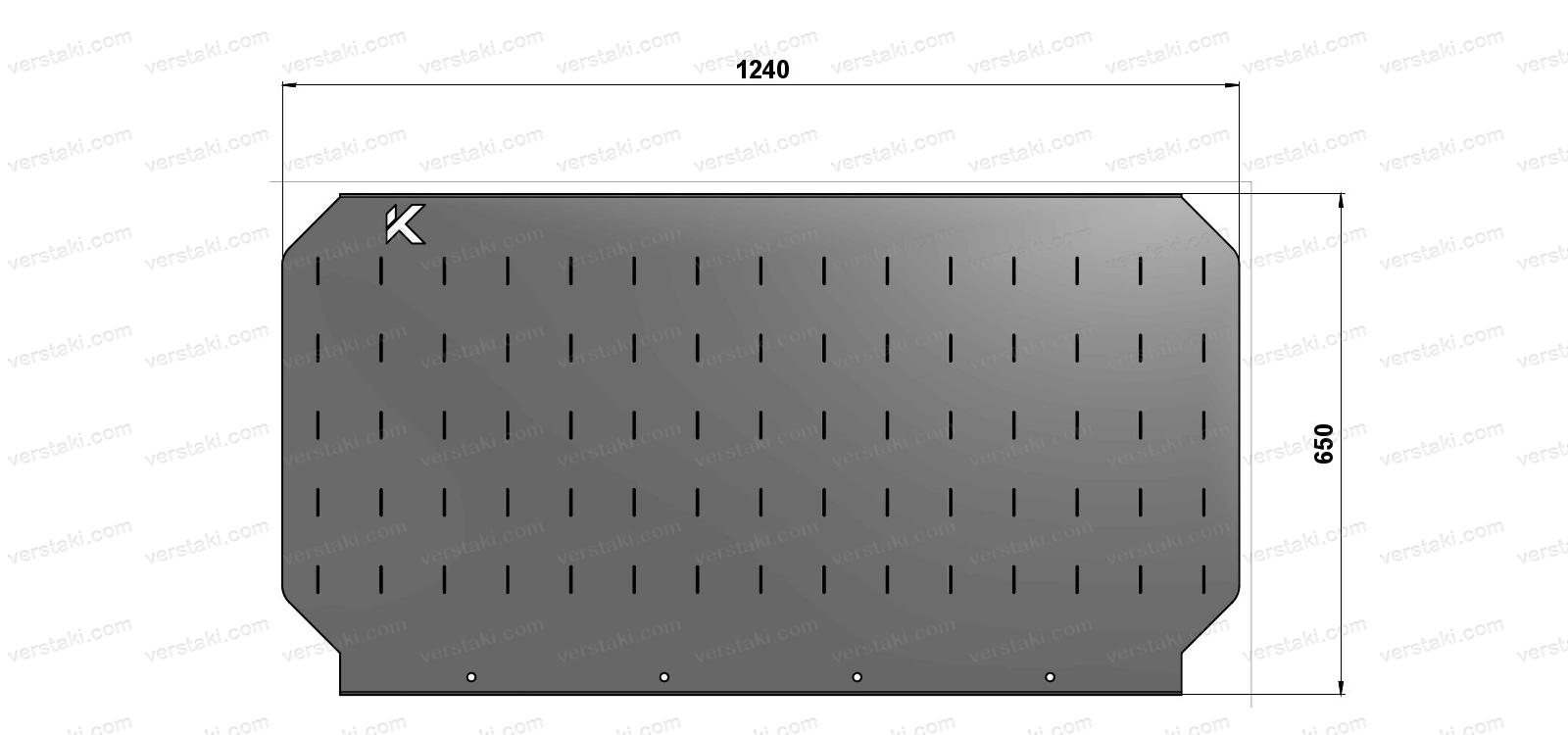 Чертеж экрана для слесарного верстака шириной 1240 мм
