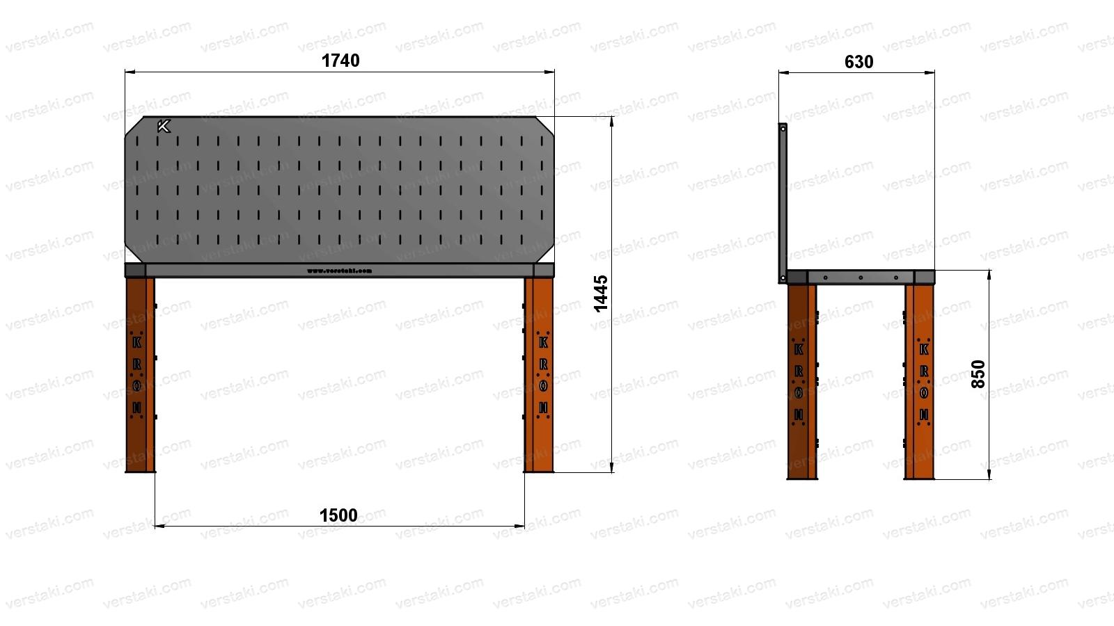 Чертеж слесарного верстака шириной 1740 мм вместе с экраном