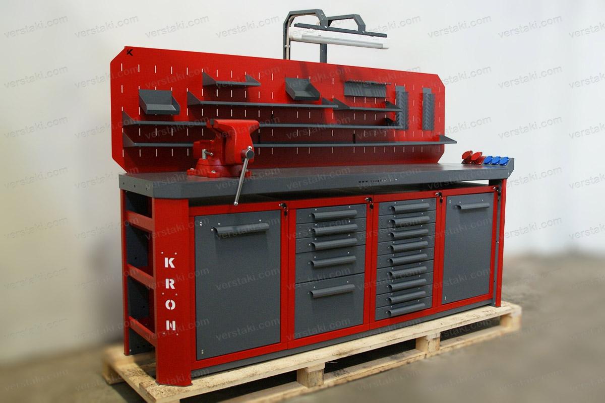Бестумбовый слесарный верстак Гефест-ВС-1591-ЭПО+Т длиной 2240 мм