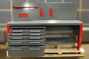 Верстак серии Гефест-ВС-4400-ЭП с открытыми ящиками