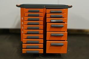 Фото тележки Гефест-ТИ-010.06 с открытыми ящиками вид спереди